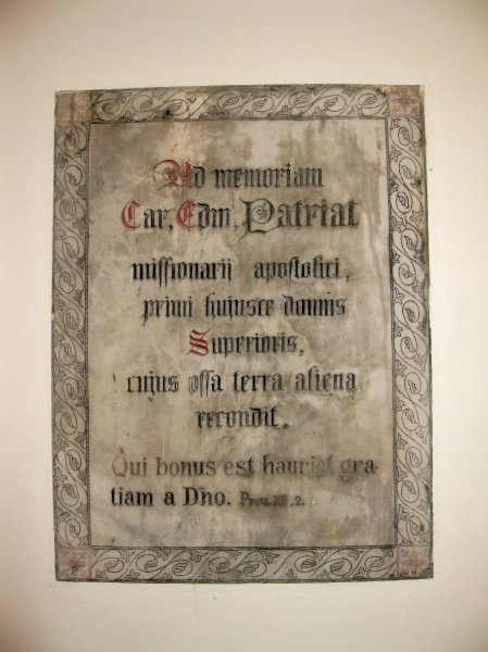 Plaque to the memory of Fr. Patriat, the first Superior (Director) of the House of Béthanie