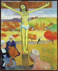 The Yellow Christ by Paul Gauguin (1848-1003) Oil on Canvas and part of the impressive Albright-Knox Art Collection, Buffalo, (NY).    Gauguin situated the well-known scene with three women under the cross in a typical Brittany landscape.  Many of his predecessors did the same, and the same applies to the contemporary dress of the women. But the technique Gauguin used is innovative. The painting seems to exist out of compartments with a single colour, heavily outlined. The technique is called cloissonism, after a French word for compartments. The autumnal colours of the landscape return in the wooden cross and in the crucified Jesus. It is thought Gauguin was inspired by a painted crucifix in a small chapel near to his home at Pont-Aven.