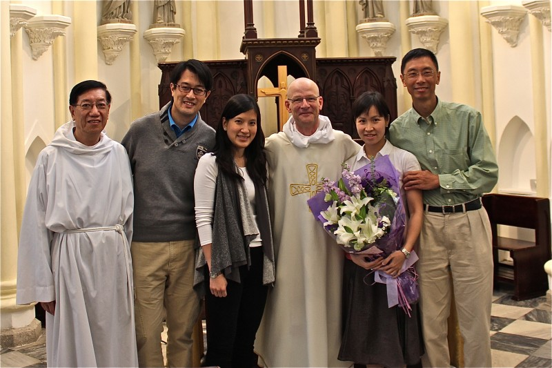 from left, sacristan Alex Lee, Tim Tsang, Andrea Kan, Fr Nigel, Cheris Yuen and David Wong