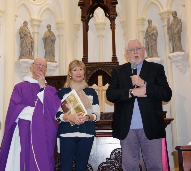 Chris and Lydia Erving with Fr Nigel on the last Sunday at Emmanuel before their move to Melbourne